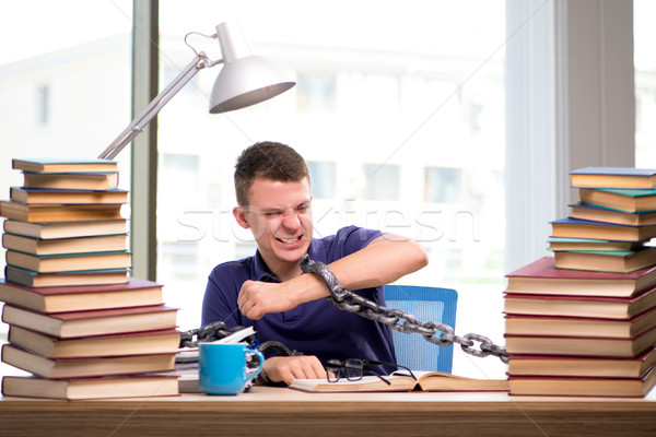 Young student forced to study tied Stock photo © Elnur