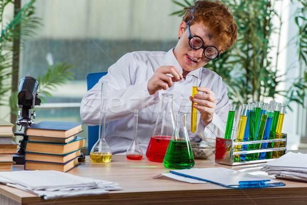 молодые Crazy химик рабочих лаборатория книгах Сток-фото © Elnur
