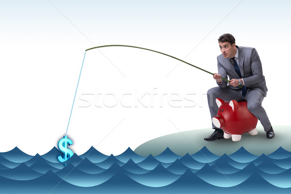 The businessman fishing out dollars from water Stock photo © Elnur