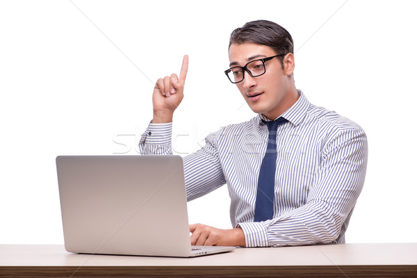 élégant affaires travail ordinateur portable isolé blanche Photo stock © Elnur