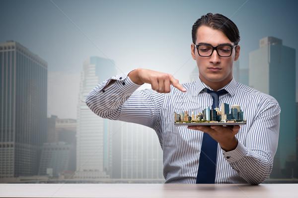 Biznesmen miejskich planowania działalności komputera strony Zdjęcia stock © Elnur