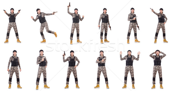 Asker tabanca yalıtılmış beyaz el adam Stok fotoğraf © Elnur