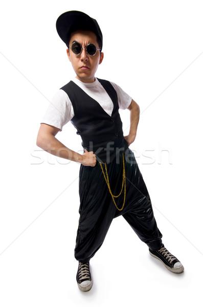 Grappig jonge man dansen geïsoleerd witte dans Stockfoto © Elnur