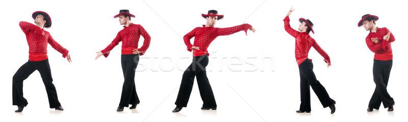 Człowiek taniec hiszpanski biały człowiek moda tle Zdjęcia stock © Elnur