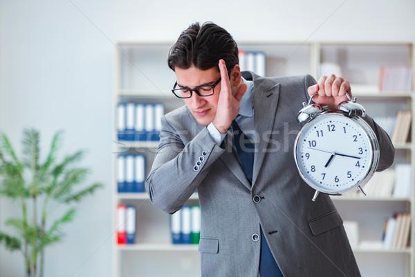 бизнесмен будильник служба бизнеса работу исполнительного Сток-фото © Elnur