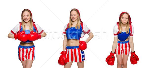 Feminino boxeador isolado branco esportes saúde Foto stock © Elnur