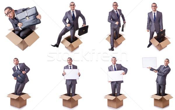 Gondolkodik ki doboz papír háttér üzletember Stock fotó © Elnur