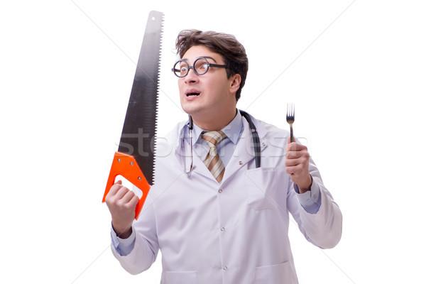 Drôle médecin vu isolé blanche travaux Photo stock © Elnur