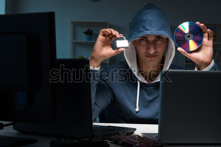 Hacker hacking computer nacht business man Stockfoto © Elnur