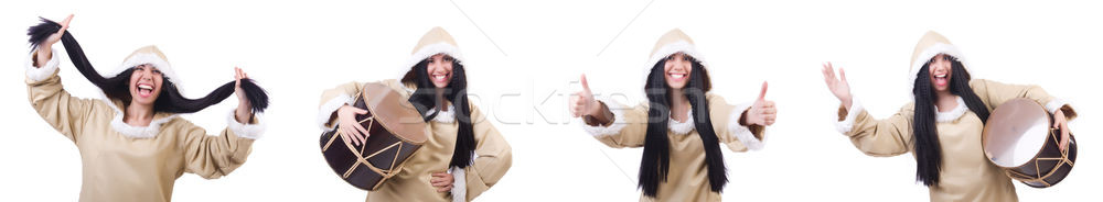 Eskimo woman isolated on the white Stock photo © Elnur
