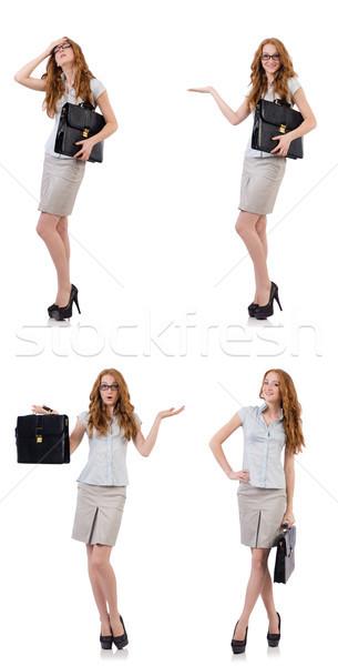 Mooie jonge werknemer aktetas geïsoleerd witte Stockfoto © Elnur