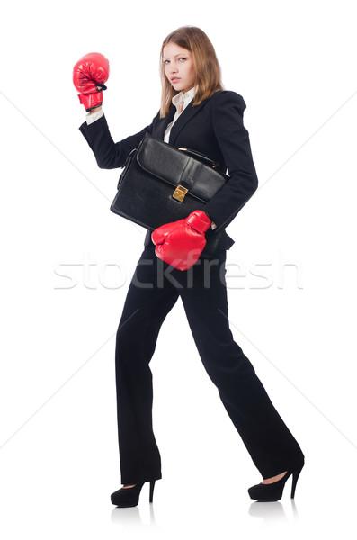 Mujer mujer de negocios guantes de boxeo blanco negocios oficina Foto stock © Elnur