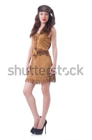 Mulher oriental vestir isolado branco menina Foto stock © Elnur