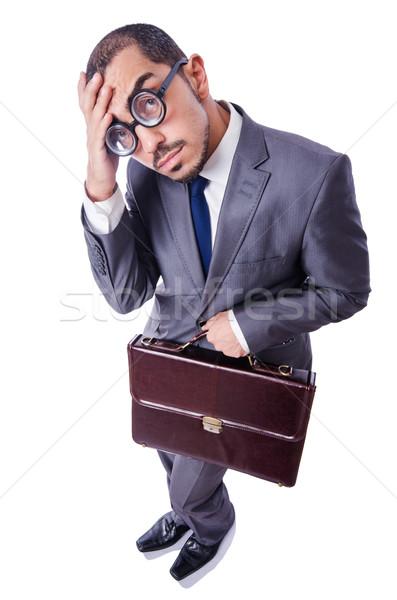 Funny nerd Geschäftsmann isoliert weiß Business Stock foto © Elnur