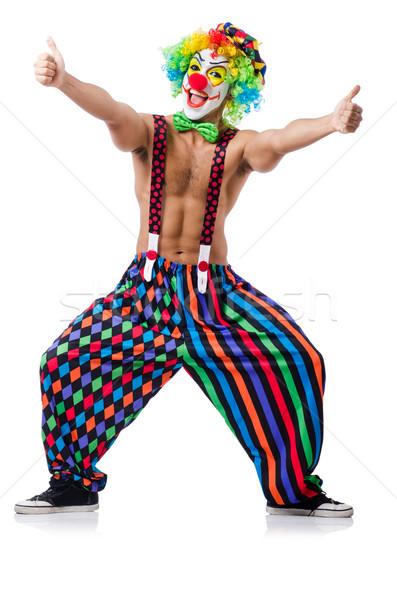 Grappig clown geïsoleerd witte glimlach gezicht Stockfoto © Elnur