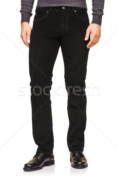 Mode broek witte model achtergrond jeans Stockfoto © Elnur