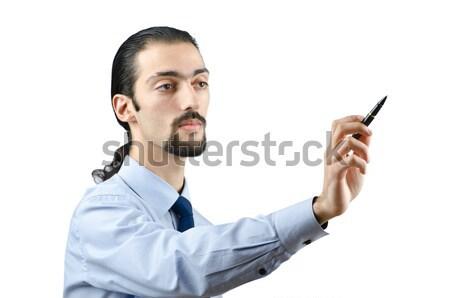 Foto stock: Empresário · suicídio · isolado · branco · negócio · mão