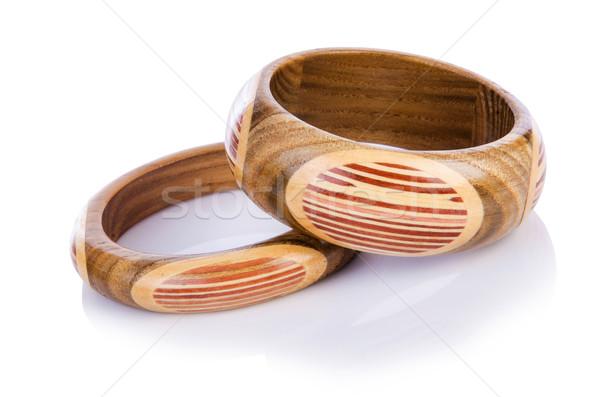 Wooden bracelet isolated on the white Stock photo © Elnur