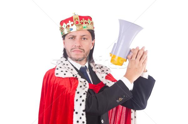 Rey empresario altavoz aislado blanco hombre Foto stock © Elnur
