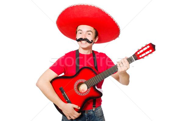 Mexicaanse gitarist geïsoleerd witte partij gitaar Stockfoto © Elnur
