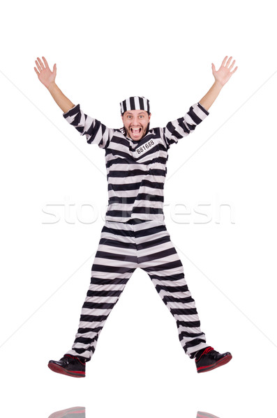 Stock photo: Prison inmate isolated on the white background