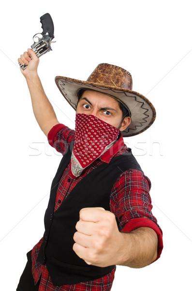 Jonge cowboy geïsoleerd witte man pistool Stockfoto © Elnur