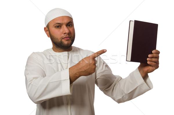 Arab man geïsoleerd witte boek boeken Stockfoto © Elnur