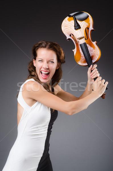 Lány hegedű izolált fehér zene arc Stock fotó © Elnur