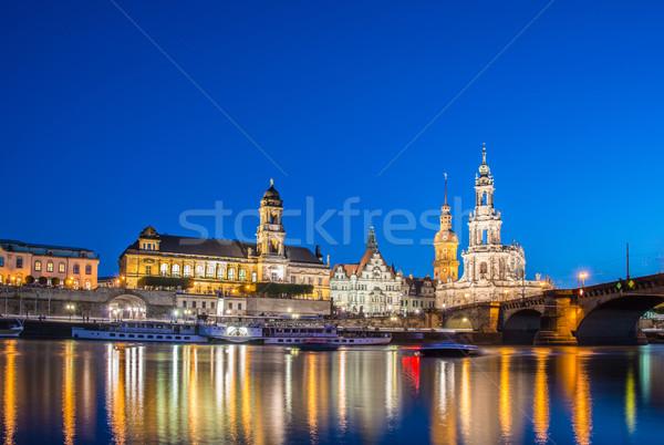 Dresden skyline at night near river Stock photo © Elnur