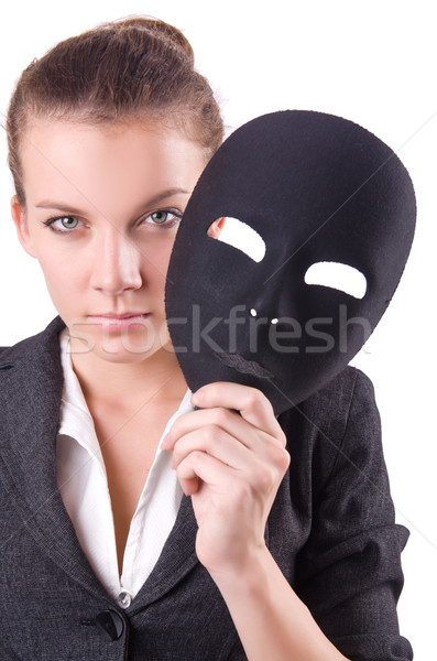 Woman with mask in hypocrisy concept Stock photo © Elnur
