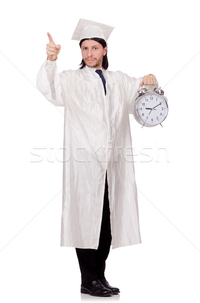 Student missing his deadlines with clock on white Stock photo © Elnur