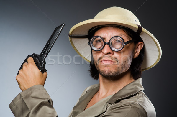 Funny safari hunter against background Stock photo © Elnur