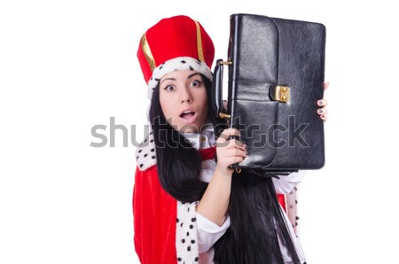 Pirate girl holding chest box isolated on white Stock photo © Elnur