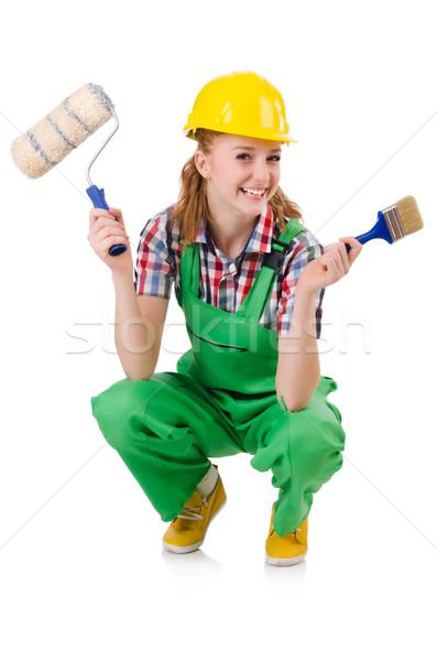 Female foreman with paint brush isolated on white Stock photo © Elnur