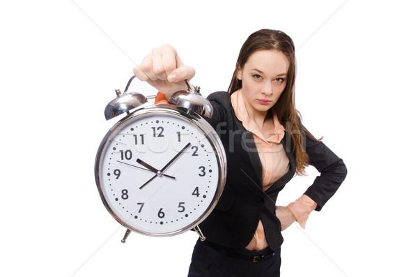 Business lady holding alarm clock isolated on white Stock photo © Elnur