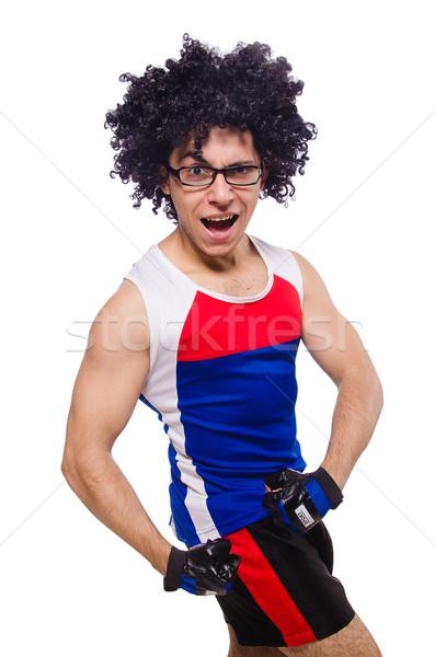 Engraçado homem isolado branco esportes Foto stock © Elnur
