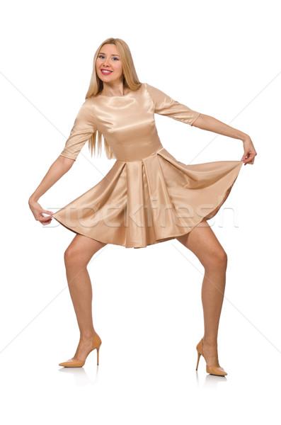 Stock photo: Pretty girl in satin mini dress isolated on white