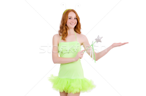 Pretty red hair fairy in green dress isolated on white Stock photo © Elnur