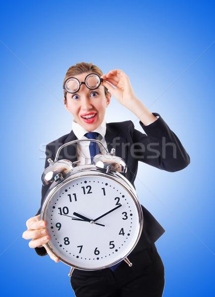 Nerd kobieta interesu gigant budzik kobieta pracy Zdjęcia stock © Elnur