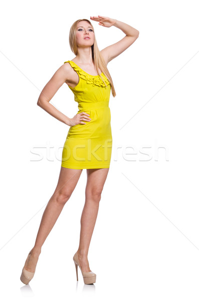 Dość wysoki kobieta krótki żółty sukienka Zdjęcia stock © Elnur
