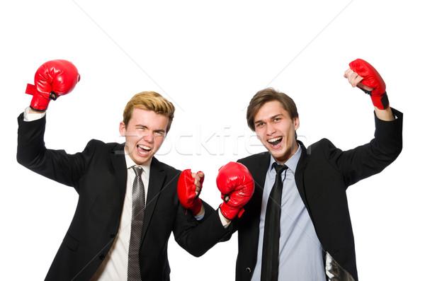 Pair of businessmen boxing on white Stock photo © Elnur