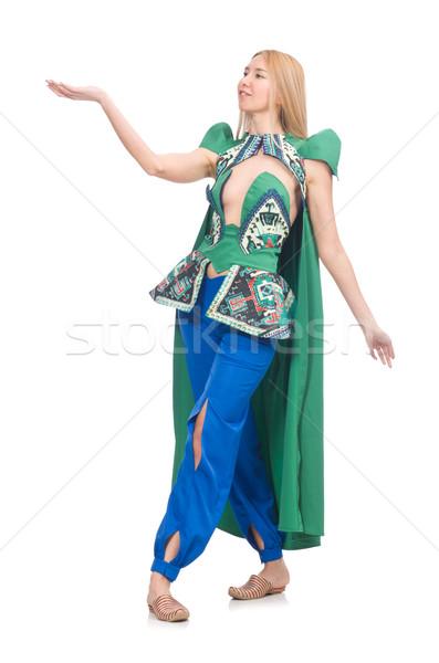 ストックフォト: 女性 · オリエンタル · 緑 · 服 · 孤立した · 白