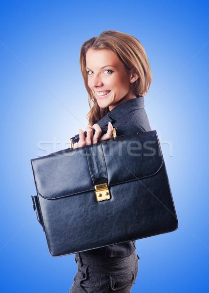 Işkadını evrak çantası beyaz iş ofis gülümseme Stok fotoğraf © Elnur