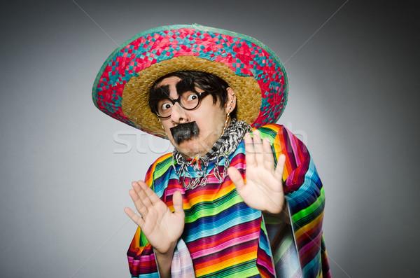 Férfi élénk mexikói szürke arc háttér Stock fotó © Elnur