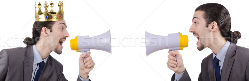 Man shouting and yelling with loudspeaker Stock photo © Elnur