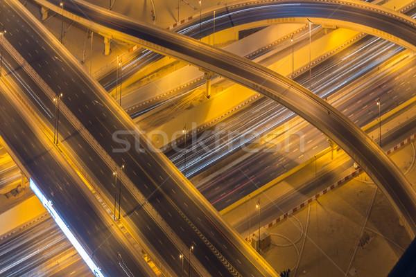 Dubai drogowego skrzyżowanie noc niebo budynku Zdjęcia stock © Elnur