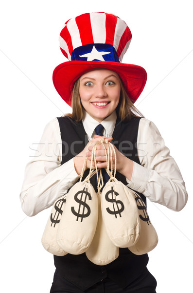 Nő pénz izolált fehér üzlet lány Stock fotó © Elnur