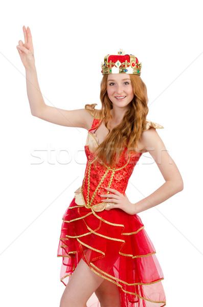 Princess korony czerwona sukienka odizolowany biały Zdjęcia stock © Elnur