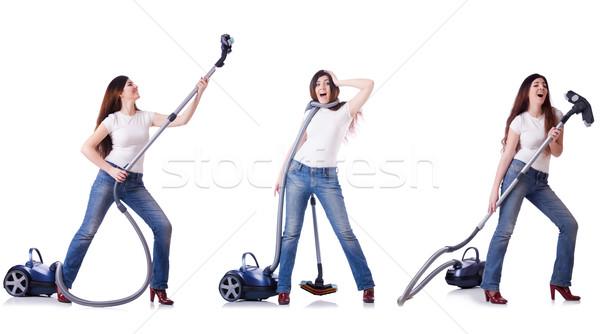Kollázs nő takarítás porszívó ház lány Stock fotó © Elnur