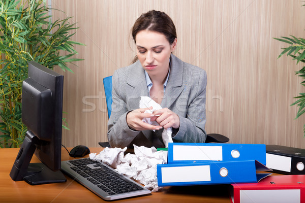 Busy businesswoman in the office under stress Stock photo © Elnur